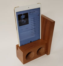 Load image into Gallery viewer, The AMP Mini a hand made wooden passive speaker. fits an IPad Mini 2, 3, or 4