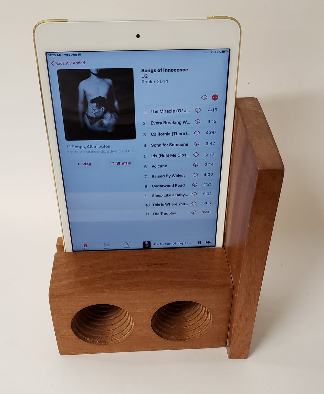The AMP Mini a hand made wooden passive speaker. fits an IPad Mini 2, 3, or 4
