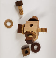 Load image into Gallery viewer, Wooden Activity Cube Nuts and Bolts Montessori toys
