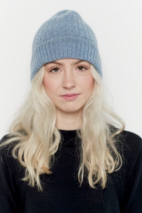 Dusty blue merino and mohair wool hat for women