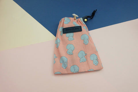"Jang Elephant Drawstring Pouch - ""above all, love"""
