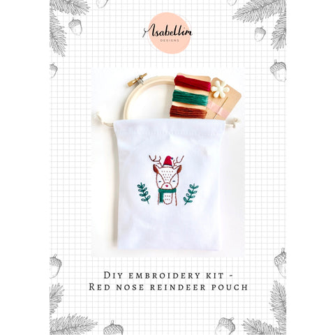 DIY Embroidery Kit - Red Nose Reindeer Pouch