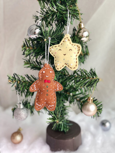 Embroidered Christmas Felt Ornaments with Isabel