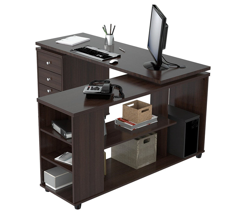 Espresso Finish 3 Drawer L Shape Computer Desk with Storage