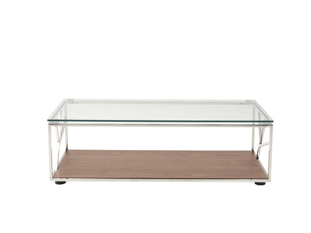 "15"" Walnut Veneer Glass and Steel Coffee Table - RichRange 