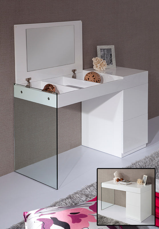 "27"" White Glass Floating Vanity with a Mirror - RichRange 