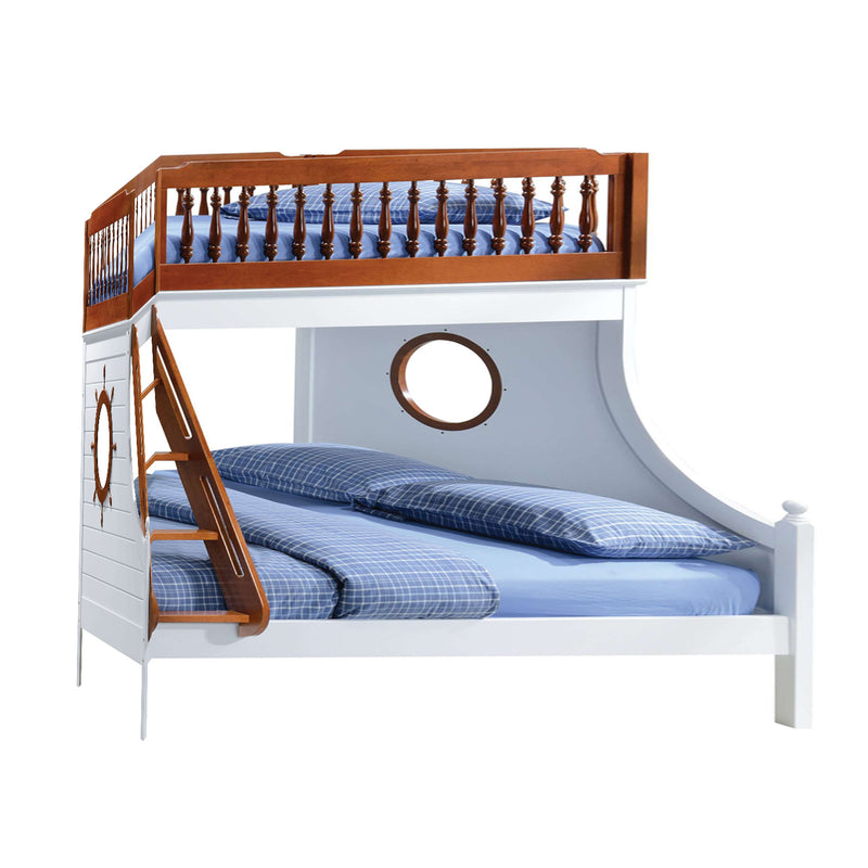 "80"" X 58"" X 69"" Twin Over Full Oak And White Bunk Bed"