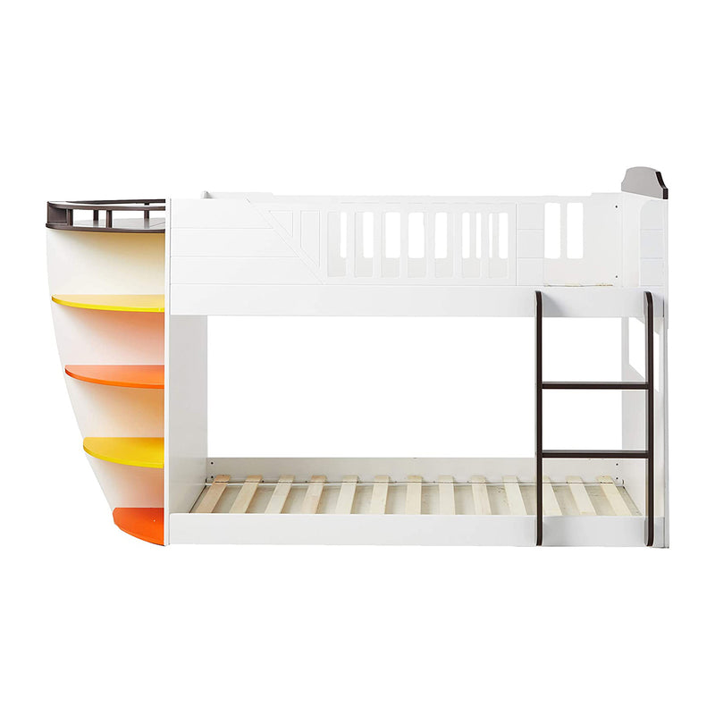 "100"" X 41"" X 57"" White And Chocolate Twin Over Twin Bunk Bed With Storage Shelf"