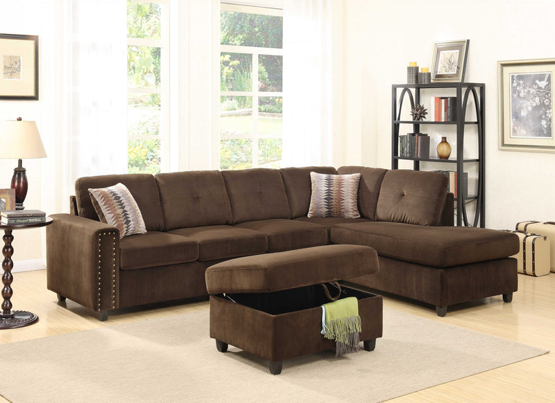 "79"" X 33"" X 36"" Chocolate Velvet Reversible Sectional Sofa With Pillows"