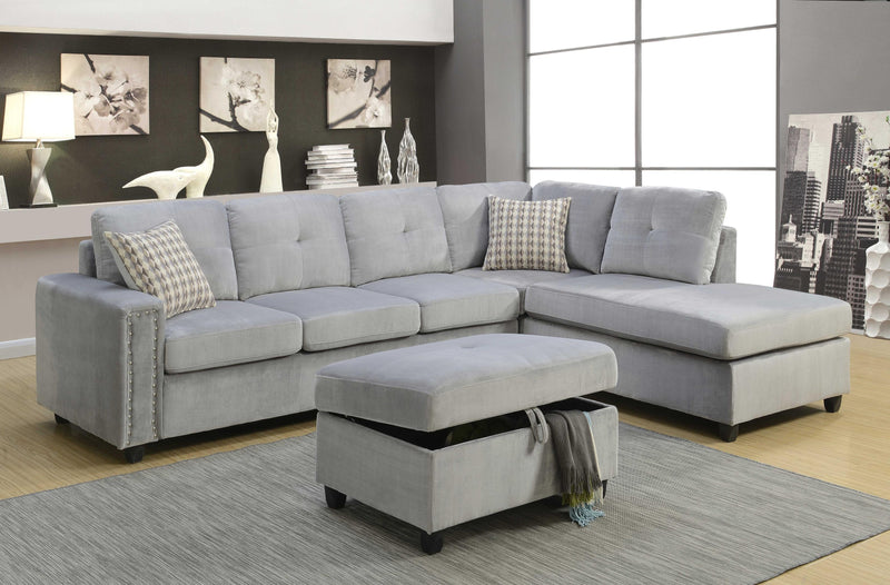 "78"" X 33"" X 36"" Gray Velvet Reversible Sectional Sofa With Pillows - RichRange 