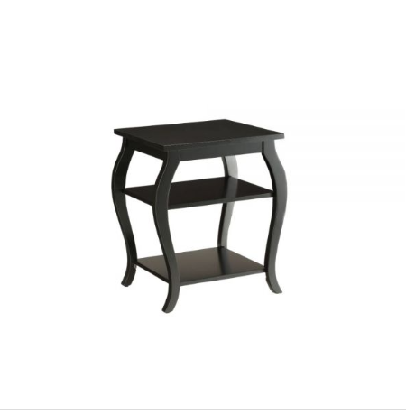 Black Solid Wooden 2 Shelves End Table