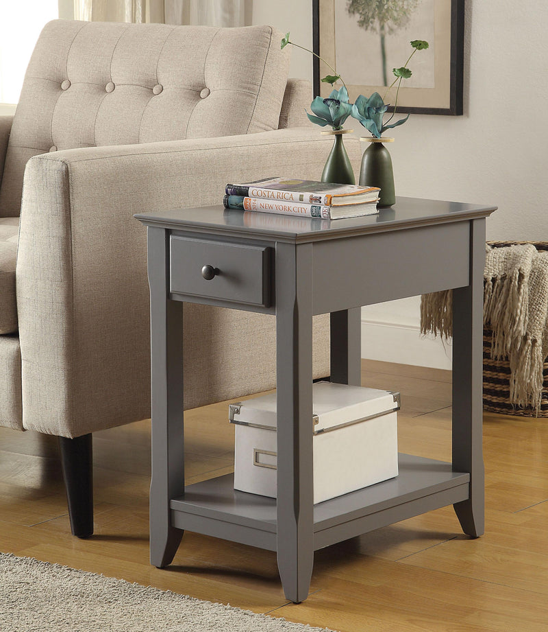 Gray Wooden Sleek Drawer Side Table
