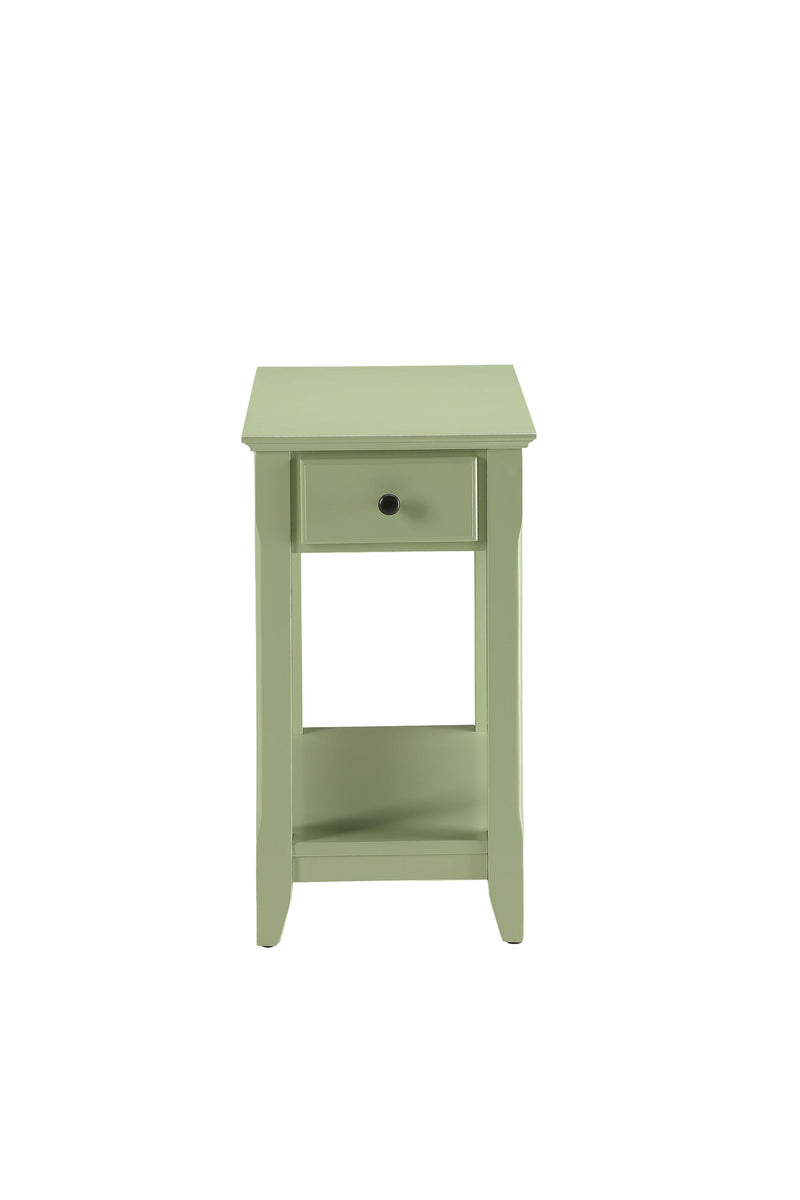 Light Green Wooden Drawer Sleek Side Table