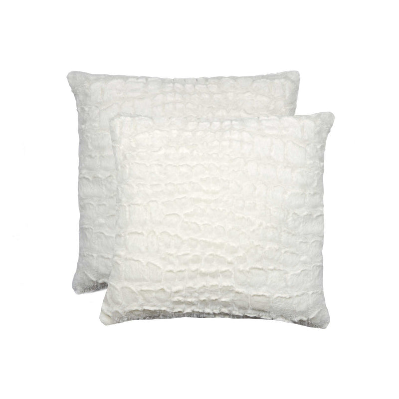 "18"" x 18"" x 5"" Ivory Mink, Faux - Pillow 2-Pack"