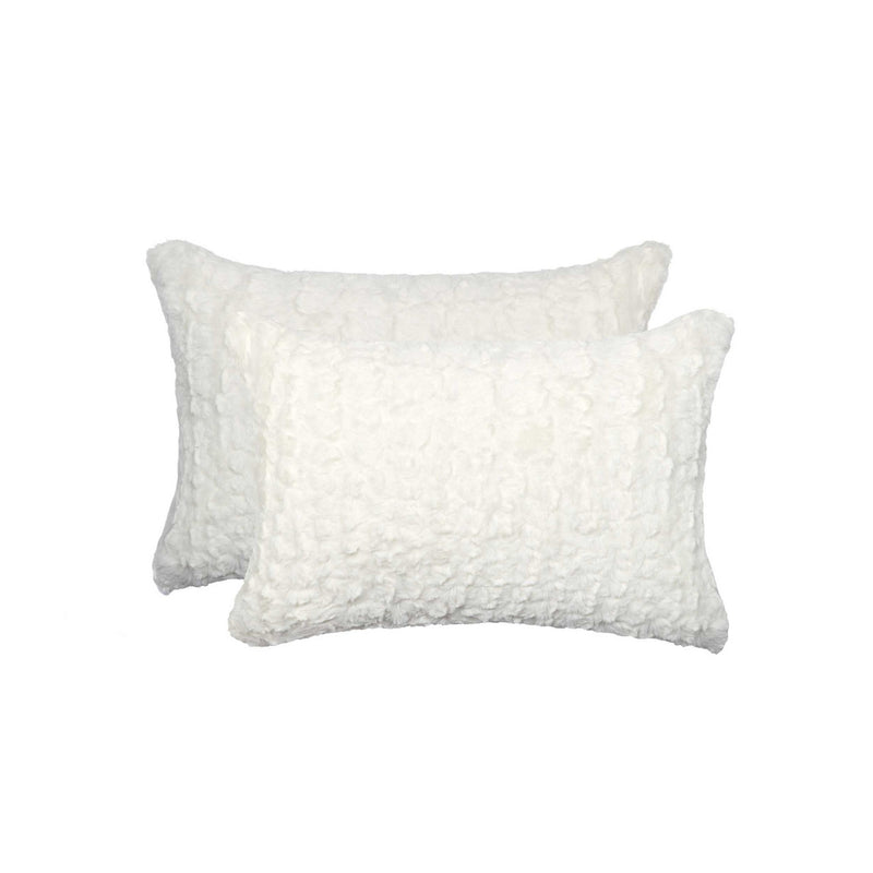 "12"" x 20"" x 5"" Ivory Mink, Faux - Pillow 2-Pack"