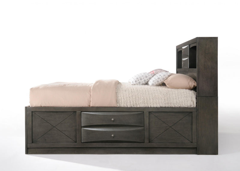 "86"" X 57"" X 56"" Gray Oak Rubber Wood Full Storage Bed - RichRange 