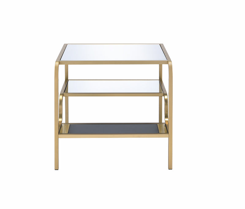 "28"" X 24"" X 23"" Gold And Clear Glass End Table"