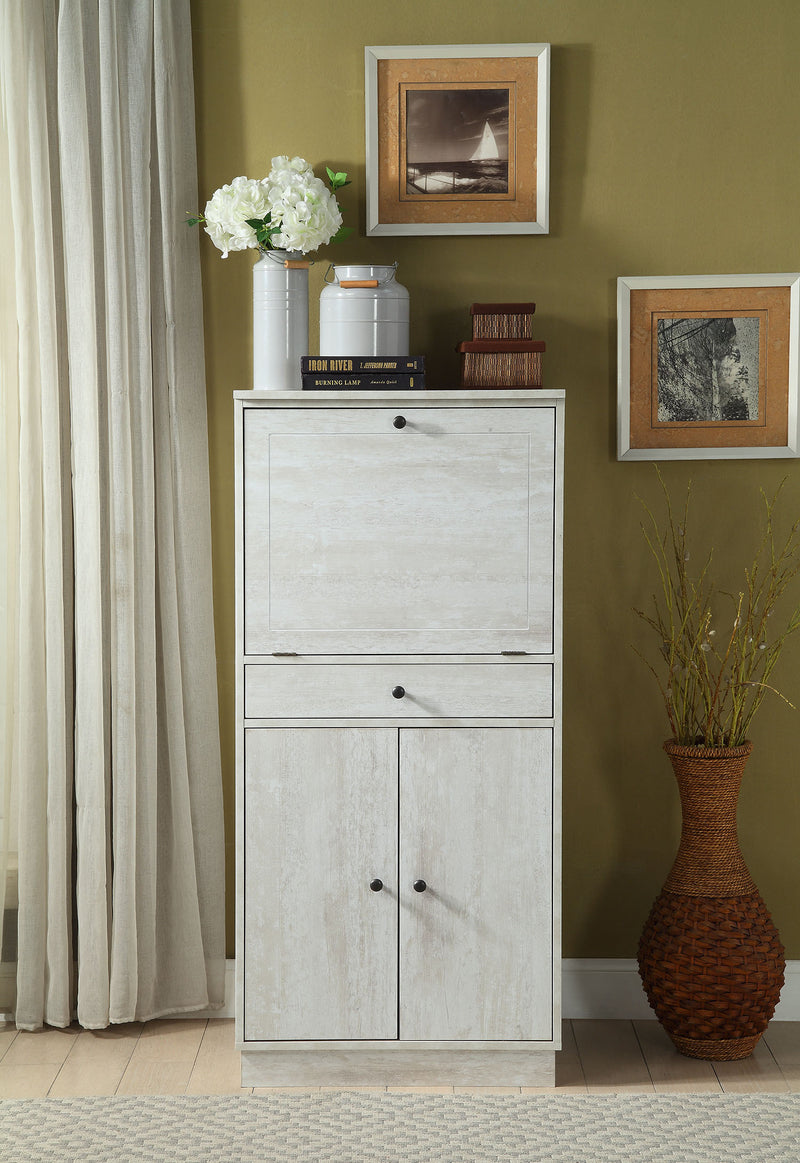 "24"" X 20"" X 52"" Antique White Mdf Wine Cabinet"