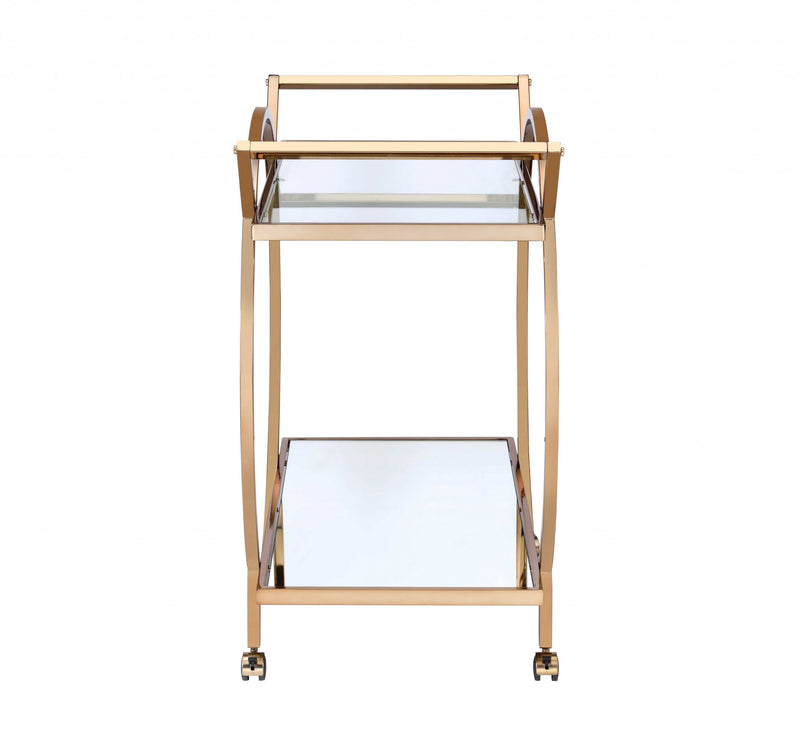 "33"" X 19"" X 35"" Champagne Metal Tube Serving Cart"