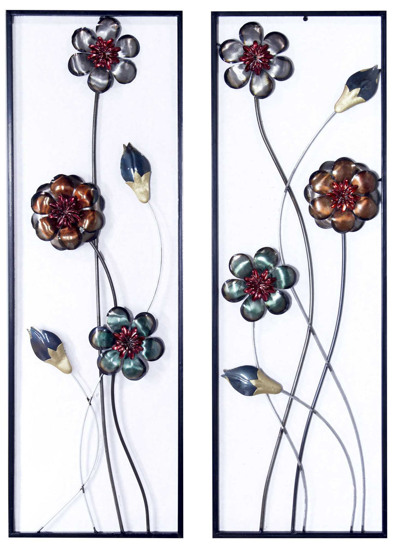 "39"" X 6"" X 15"" Metallic Multi-Color Metal Garden S And Blooms Vertical Wall Panel Set"