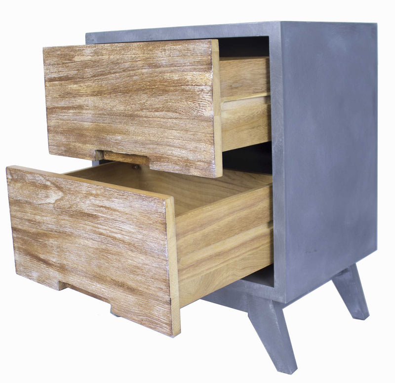 "20"" X 25"" X 31"" Gray W Distressed Wood MDF Wood Accent Cabinet with Drawers"