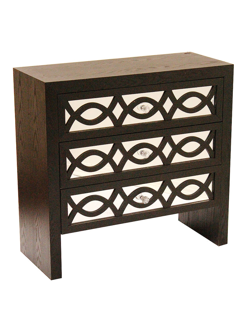 Black MDF Wood Mirrored Glass Cabinet with Drawers with Mirror Accents and Carved Front - RichRange | The Best Deals Online: Furniture, Home Decor & More