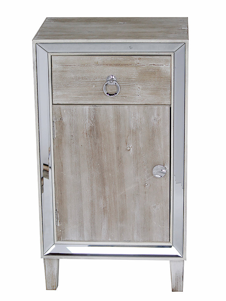 "22.75"" X 19"" X 38"" White Washed MDF Wood Mirrored Glass Cabinet with a Drawer and a Door"
