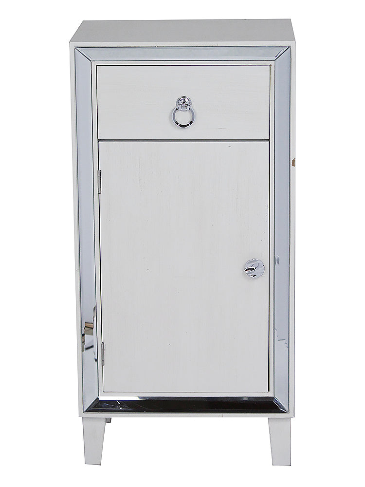 "23"" X 20.5"" X 41.5"" Antique White MDF Wood Mirrored Glass Accent Cabinet with a Drawer and a Mirrored Door - RichRange 