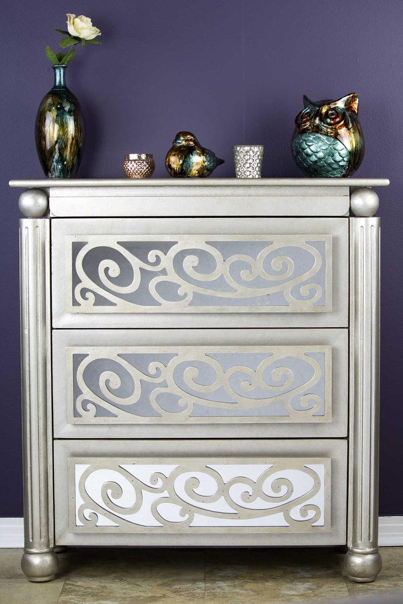 "35"" X 17"" X 37"" Antique Silver W Gold MDF Wood Mirrored Glass Accent Cabinet with drawers and Mirrored Glass - RichRange 