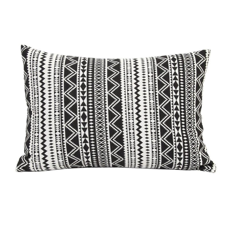 20 x 14 Black And White Tribal Stripe Rectangular Accent Pillow
