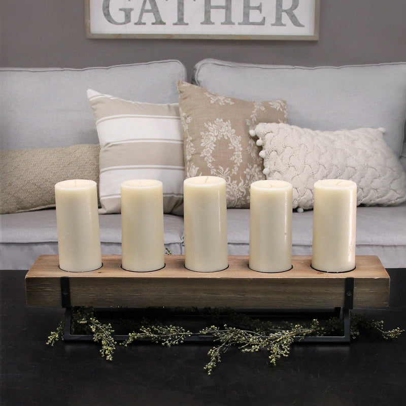 5-Candle Metal and Wood Holder Centerpiece - RichRange | The Best Deals Online: Furniture, Home Decor & More