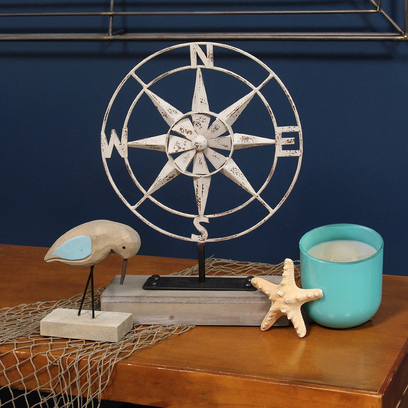 Compass of the Sea Metal and Wood Table Top Decor