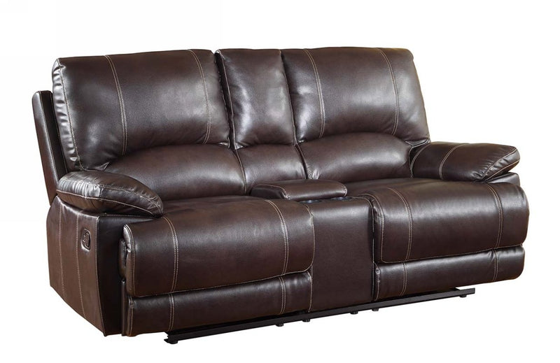 "41"" Stylish Brown Leather Console Loveseat"