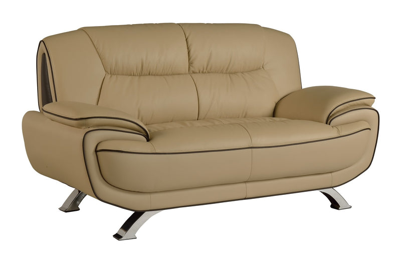 "40"" Sleek Beige Leather Loveseat - RichRange 