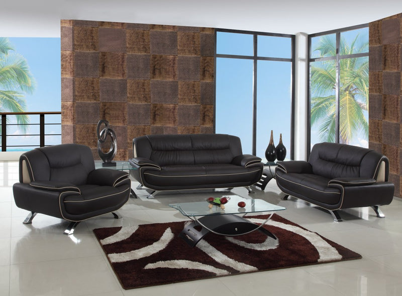 "110"" Sleek Brown Sofa Set - RichRange 
