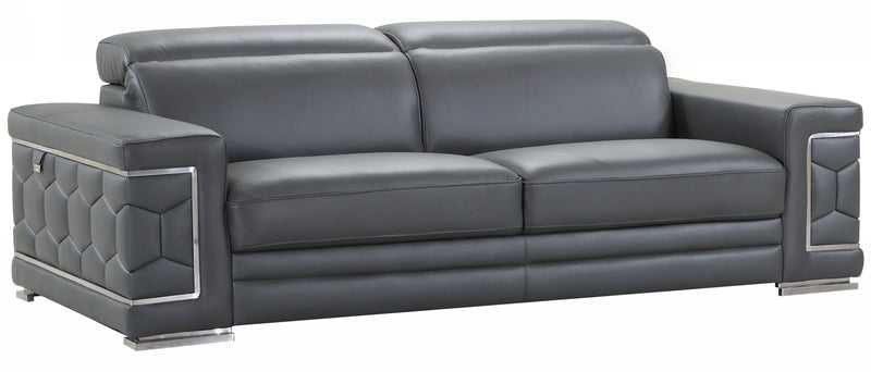 "89"" Sturdy Dark Gray Leather Sofa - RichRange 