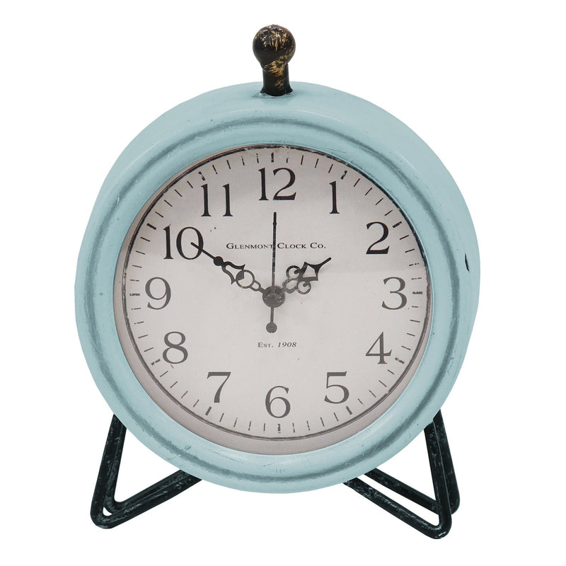 Rustic Blue and Wood Table or Desk Clock