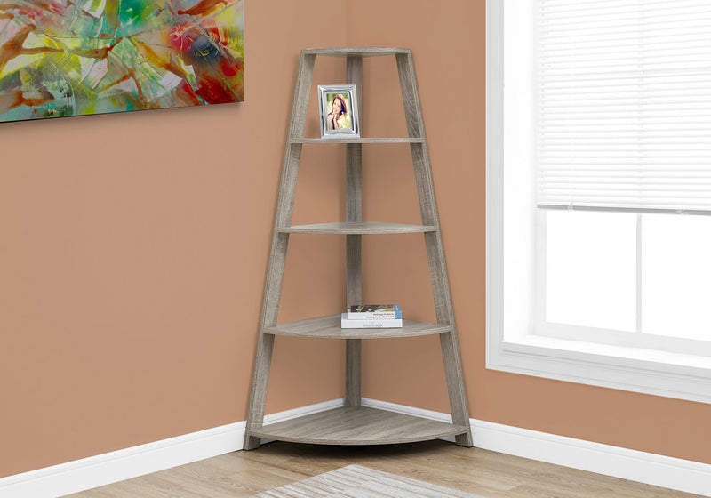 "24.25"" x 34.25"" x 60"" Dark Taupe Black Particle Board Bookcase Corner Accent Shelf"