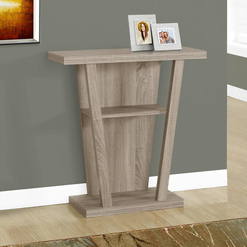 "11.5"" x 31.5"" x 33.75"" Dark Taupe Finish Hollow Core Accent Table"