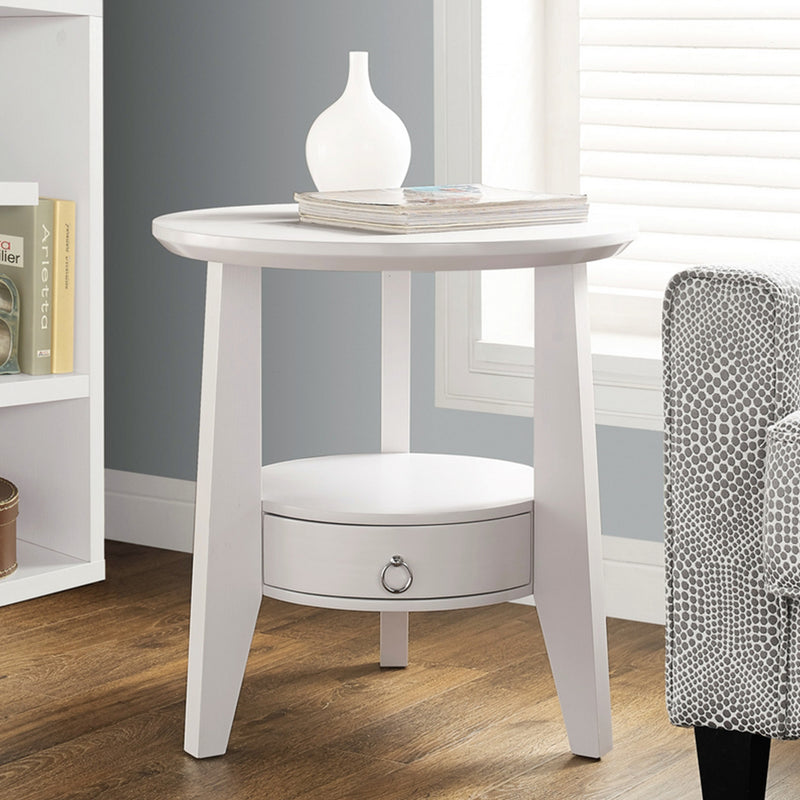 "23.5"" x 23.5"" x 24"" White 1 Drawer Accent Table - RichRange 
