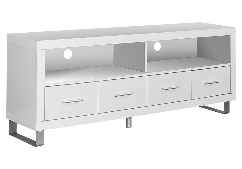 "15.75"" x 60"" x 23.75"" White Silver Particle Board Hollow Core Metal TV Stand With 4 Drawers - RichRange 