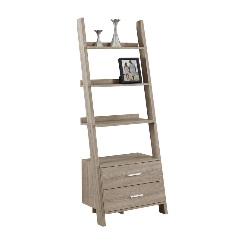 Dark Taupe Hollow Core Bookcase with 2 Storage Drawers