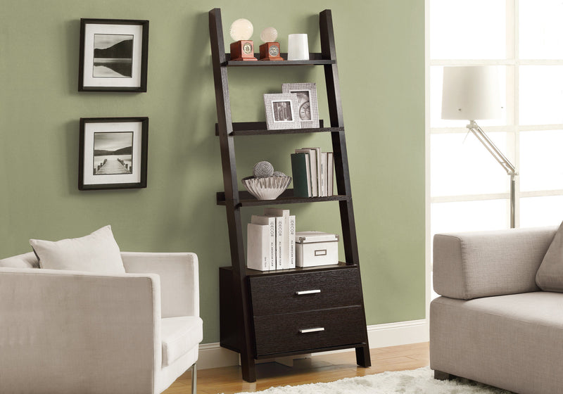 "69"" Cappuccino Particle Board Ladder Bookcase with Two Storage Drawers"