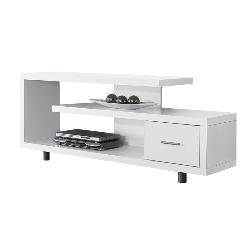 "15.75"" x 60"" x 24"" White Silver Particle Board Hollow Core Metal TV Stand with a Drawer - RichRange 
