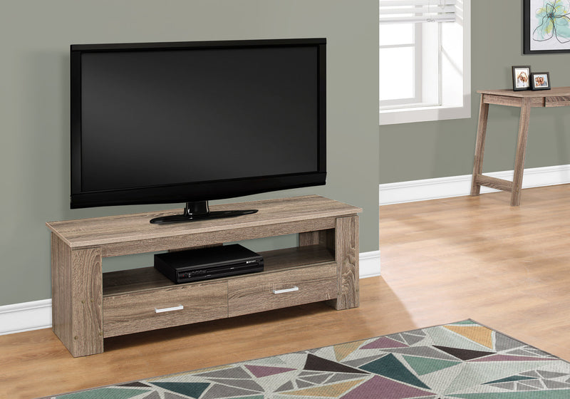 "16.25"" Dark Taupe Particle Board and Laminate TV Stand with 2 Storage Drawers"