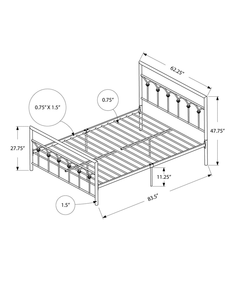 "83.25"" x 62.25"" x 47.75"" Black Metal Queen Size Bed"