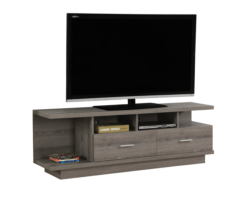 "19.75"" Dark Taupe Particle Board Hollow Core and MDF TV Stand with 2 Drawers - RichRange 