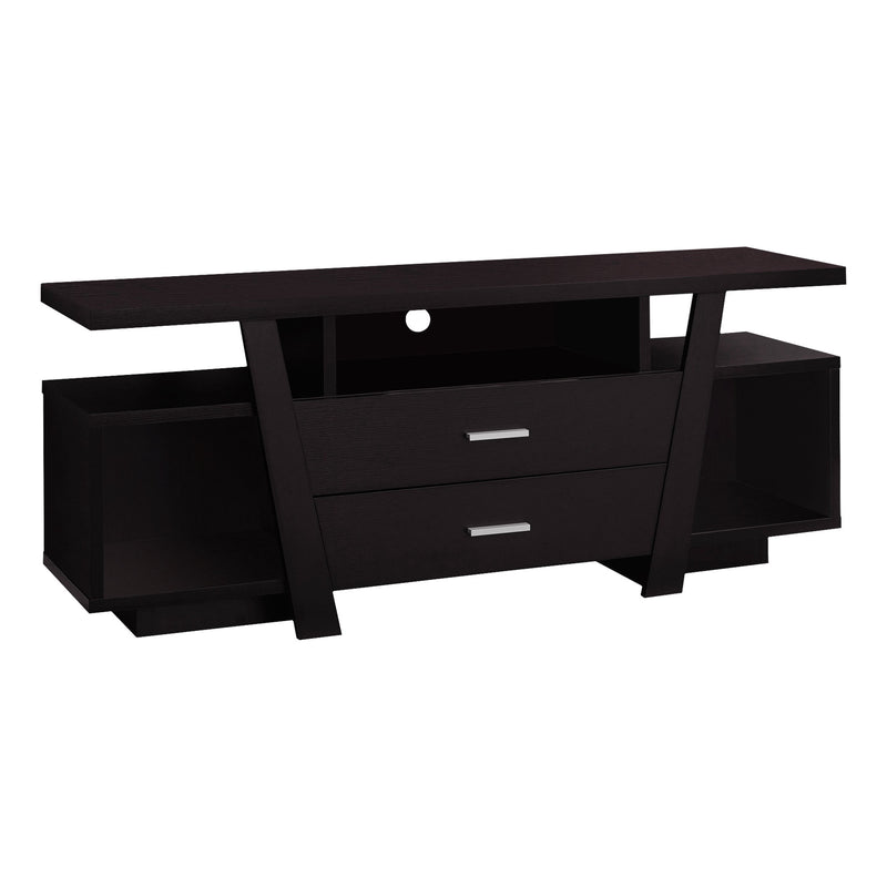 "15.5"" x 60"" x 23.75"" Cappuccino Particle Board Hollow Core TV Stand With 2 Drawers - RichRange 
