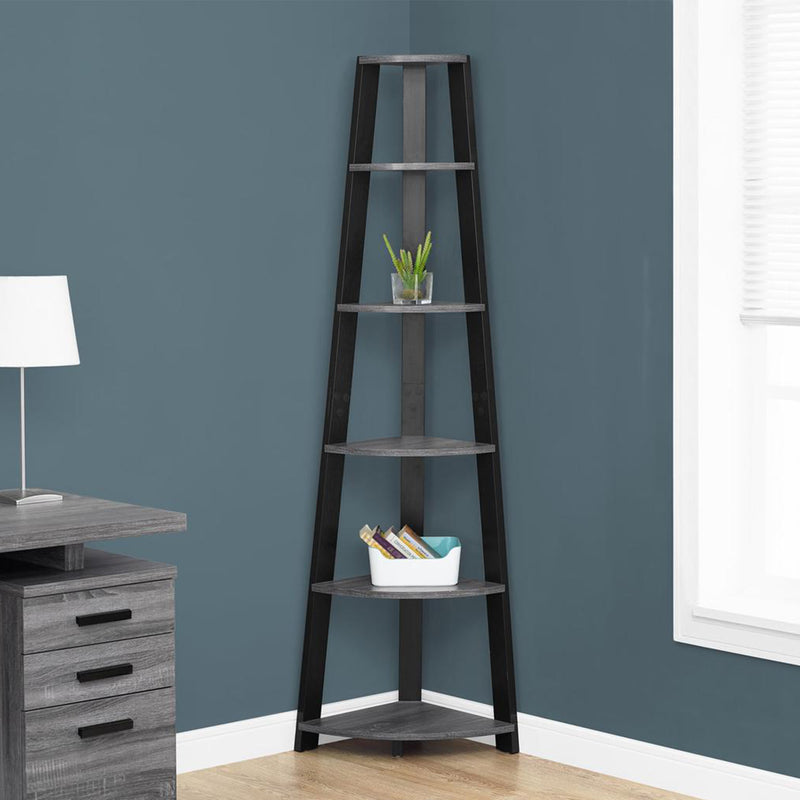 "15.5"" x 22.5"" x 71.25"" Grey Black Particle Board Bookshelf"