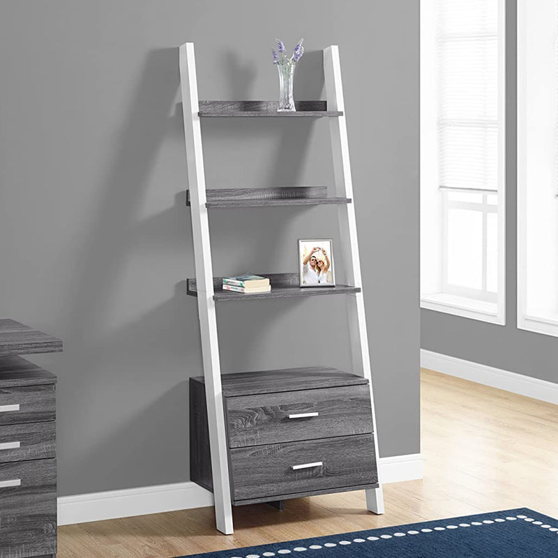 "16.75"" x 25.5"" x 69"" Grey White Particle Board Hollow Core Bookcase with 2 Storage Drawers"